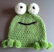 Cappellino in  lana a forma di ranocchio