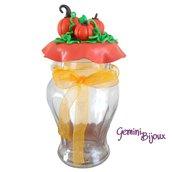 """Vasetto Pot in vetro decorato """"Zucche"""" in fimo"""