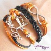 Bracciale multifile arancio e nero in corda con ancora, love, infinito e treccia