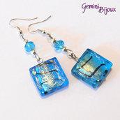 Orecchini rettangoli foglia argento e sfaccettate azzurre
