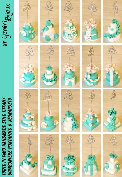 Bomboniera, Portafoto, Segnaposto in fimo Wedding Cake Tiffany blue