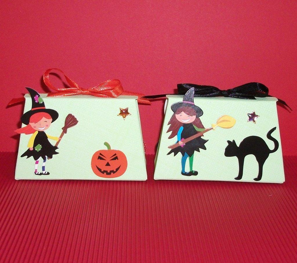 Coppia di Scatoline decorate per Caramelle e Regalini di Halloween^^ - MiniBags Trick or Treat - Dolcetto o Scherzetto!!! - Halloween Collection - Coppia (2pz)