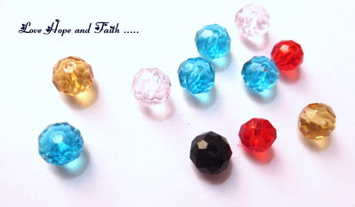 LOTTO 10 perle in vetro sfaccettate (6 mm)  (cod.04666)