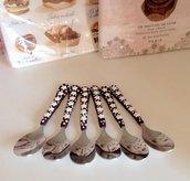 Set di 6 cucchiani da caffè con manico decorato