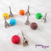Orecchini Tour Eiffel e pasticcino macarons in fimo