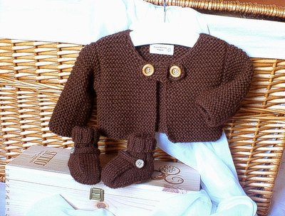 Hand Knit - Baby Sweater-Jacket set with Booties-Shoes-Chocholate-Brown 6/9 months