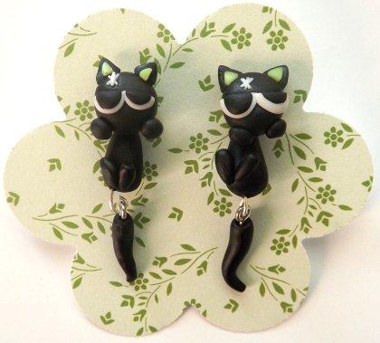 Orecchini in fimo gatti bulli a penzoloni idea regalo Natale per lei