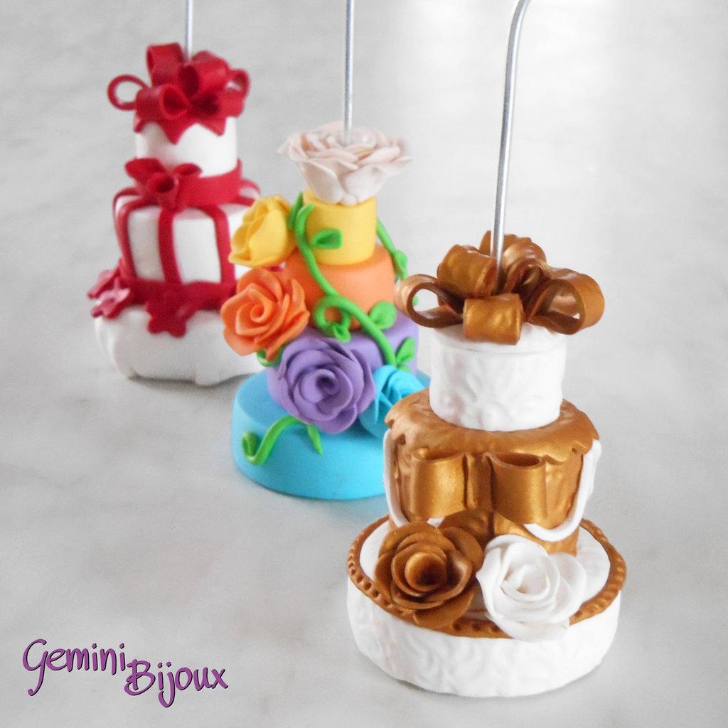 Mini Wedding cake in fimo: Bomboniera, Portafoto, Segnaposto, fatto a mano