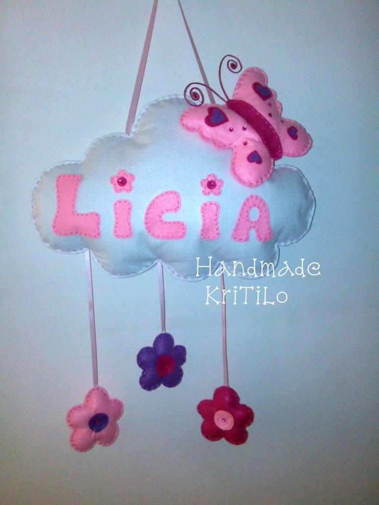 fiocco nascita farfalla su nuvola Handmade KriTiLo