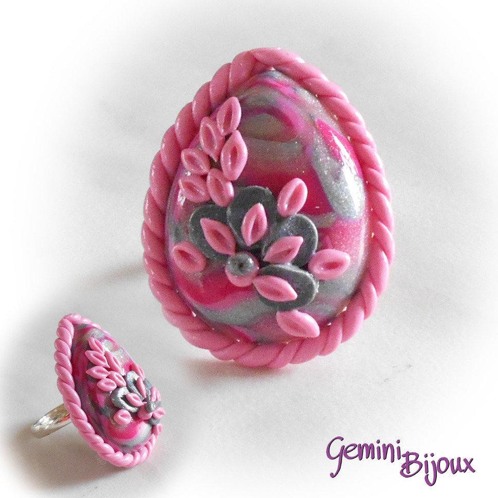 Anello in fimo su base regolabile goccia silver-pink