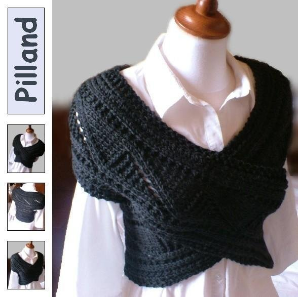 PDF Pattern ORIGINAL DESIGN by Pilland-Horizontal shoulder/ back/ neck/ warmer scarf sweater