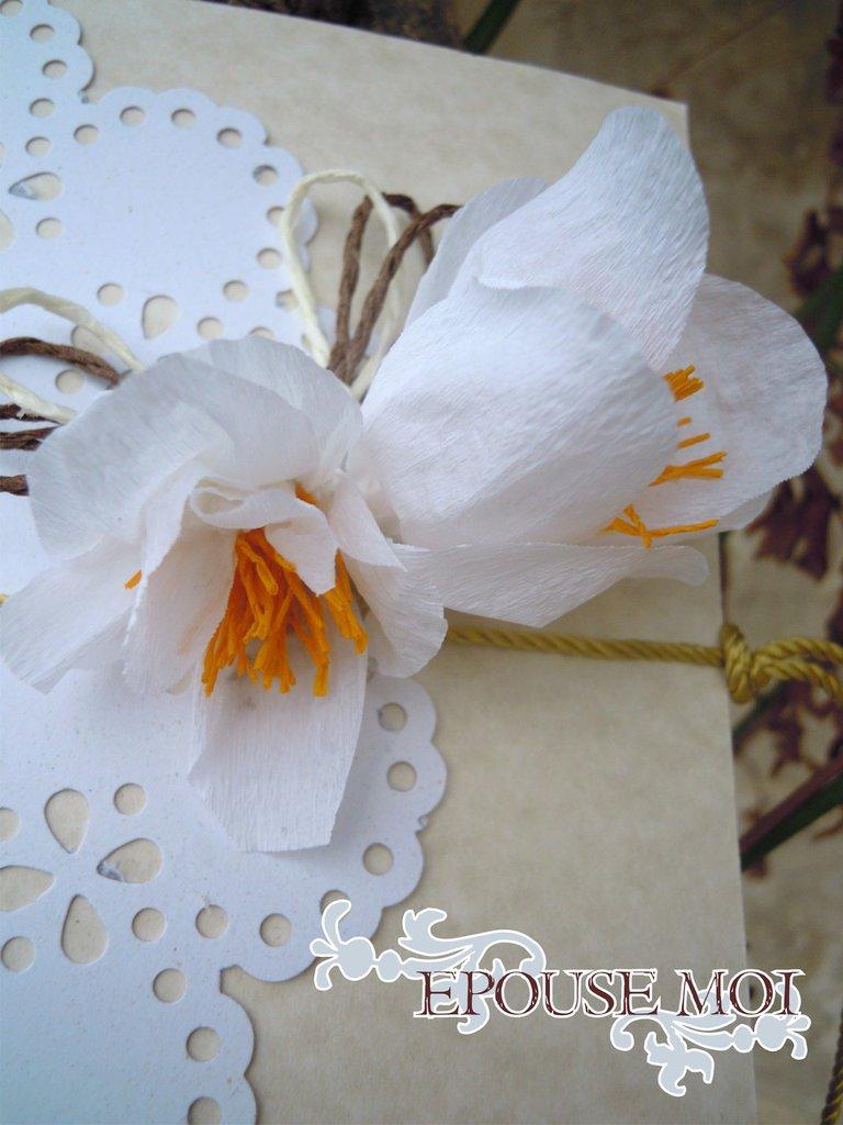 partecipazione con fresie bianche in carta crespa e centrino di cartoncino