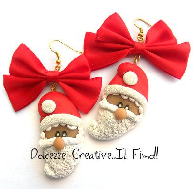 ☃ Natale In Dolcezze 2015 ☃ Orecchini Babbo Natale con maxi fiocco - kawaii - idea regalo