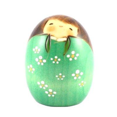 Bambola giapponese - Kokeshi Felicità verde