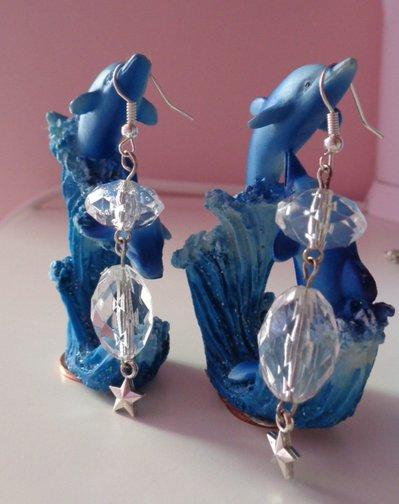 Orecchini con perle trasparenti