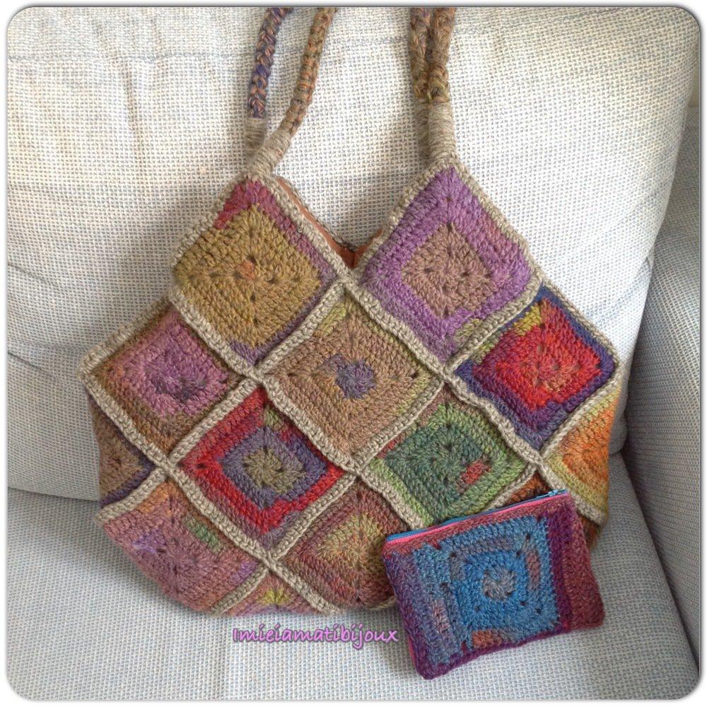 Borse Di Lana Alluncinetto Per Bambini : Borsa in lana mattonelle all uncinetto multicolore donna