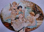 Quadro capoletto angeli olio  su tavola dipinto a mano.