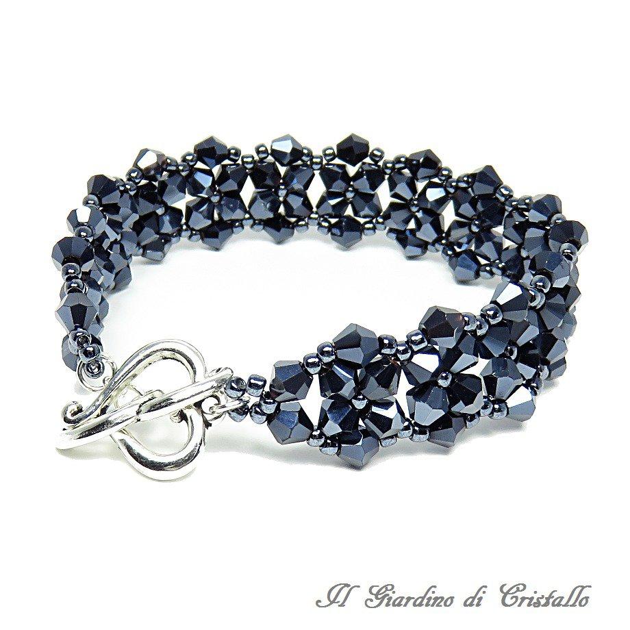 Bracciale a fascia con cristalli e perline nero ematite fatto a mano - Giacinto