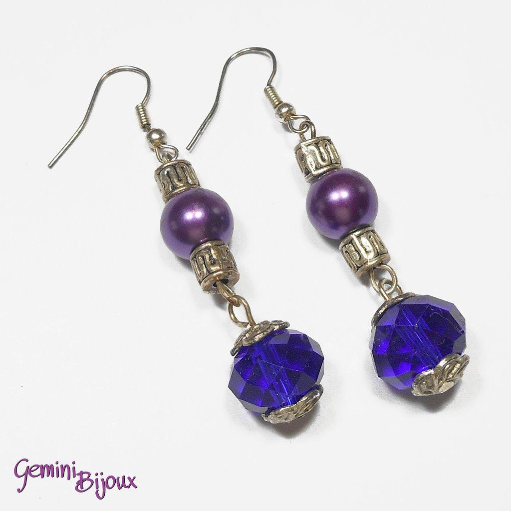 Orecchini perle e briolette purple