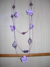 collana rose lilla