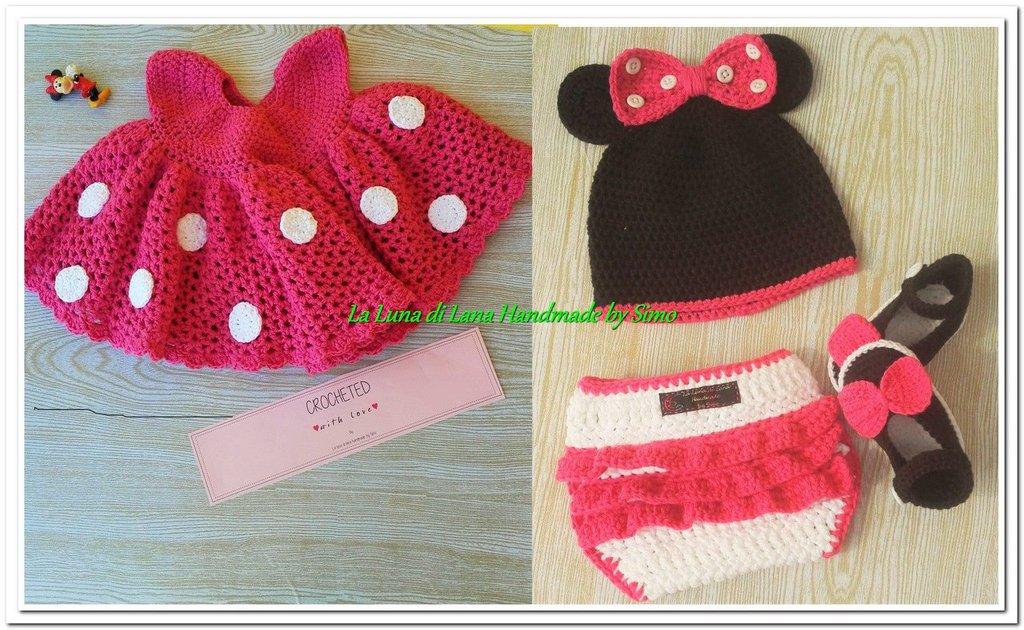 Abitino Minnie A Uncinetto Per Neonata Con Cappello Scarpine E Co