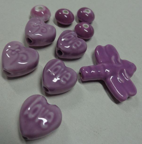 10 Perline in Porcellana Violetto