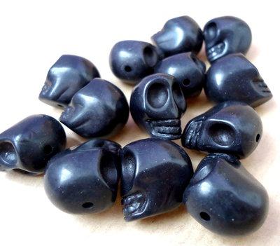 2pz - perle perla howlite sintetica TESCHIO Sugar skull NERO