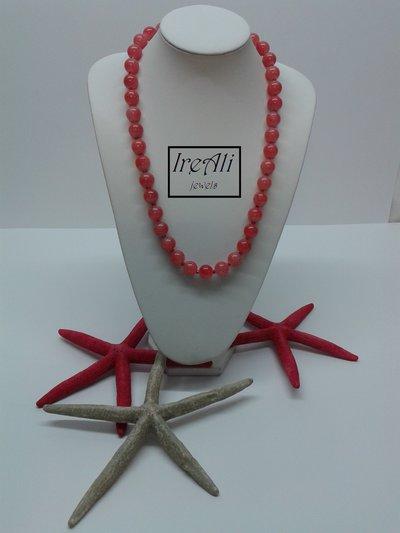 Collana Rosa Corallo Effetto Crepa Collezione Murano