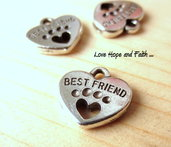 "Charm ciondolo ""Cuore BEST FRIEND "" (15x15mm) (cod.03406)"