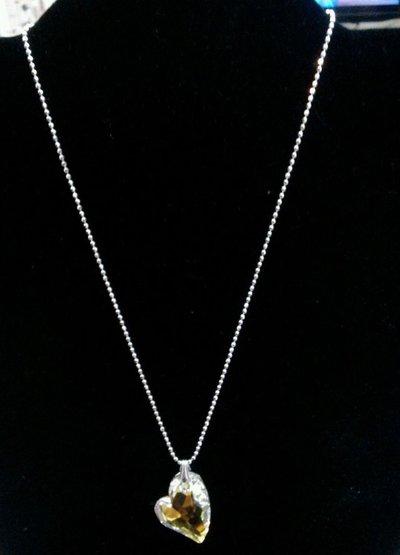 Collana in argento 925 con ciondolo cuore cristallo sw