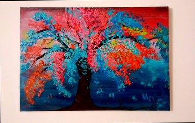 Quadro dipinto a mano su tela raffigurante Albero dai fiori colorati