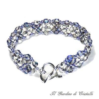 Bracciale a fascia con mezzi cristalli heliotrope toni blu viola fatto a mano - Giacinto