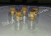 10 PEZZI - BOTTIGLIETTE IN VETRO CON TAPPINO IN SUGHERO 18 X 10 mm MINIATURA