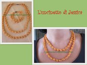 Parure arancione con perline