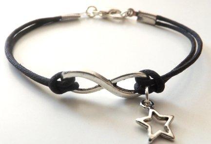 Bracciale con cordino nero e simbolo infinito con ciondolo stella in argento tibetano unisex idea regalo per lei e lui