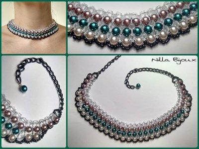 Collarino di perle di colori vari