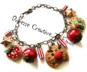 ☃ Natale In Dolcezze 2015 ☃ Bracciale Renna biscotto con donut e cookie con agrifoglio - perle