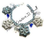 ☃ Natale In Dolcezze 2015 ☃ Bracciale fiocco di neve - Con perle trasparenti e blu - Bianchi e celesti