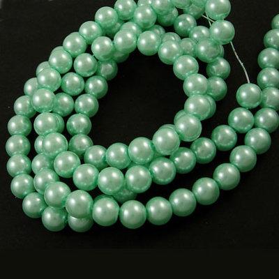 Lotto 20 perle tonde in vetro cerato 8mm acquamarina