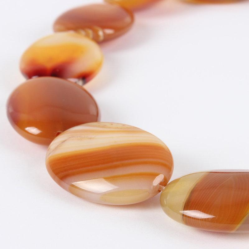 Pietra ovale di agata striata arancio chocolate, mm. 25x18