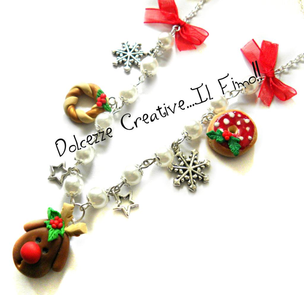 ☃ Natale In Dolcezze 2015 ☃ Collana Renna - Con perle, ghirlande, stelle, donut e fiocchi di neve