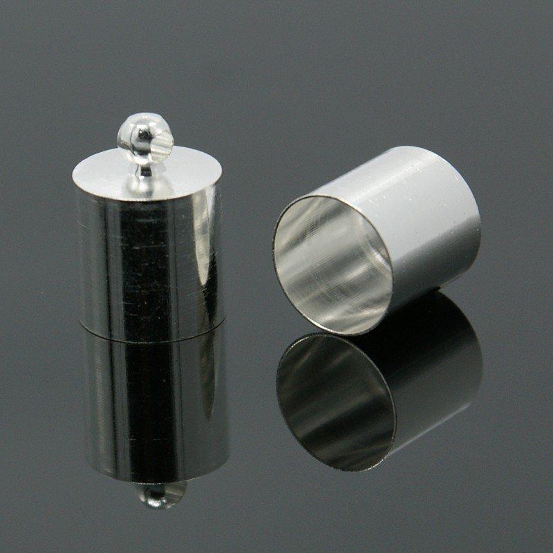 Terminali per cordoncini silver mm. 13x9 foro 8mm. - Lotto 2 pz.