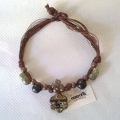 Collana  raku con perle legno