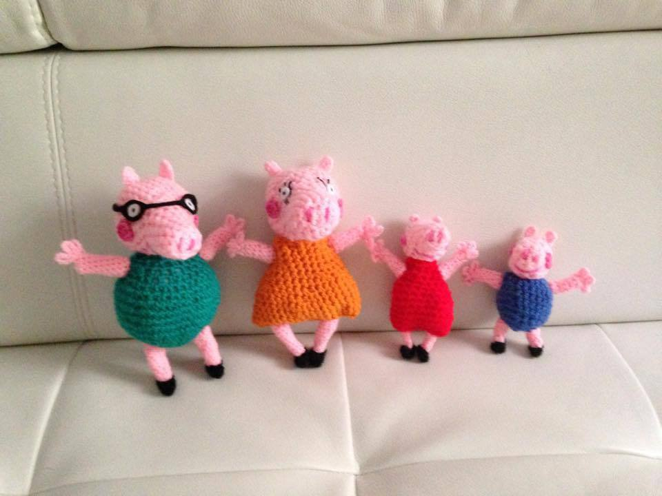 Famiglia di Peppa Pig pupazzi amigurumi