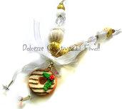 ☃ Natale In Dolcezze 2015 ☃ Collana Donut - Ciambella con glassa al cioccolato - perle in tonalità oro
