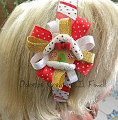 ☃ Natale In Dolcezze 2015 ☃ Cerchietto con Casetta di marzapane e fiocchi di neve, versione ROSSA Gingerbread house