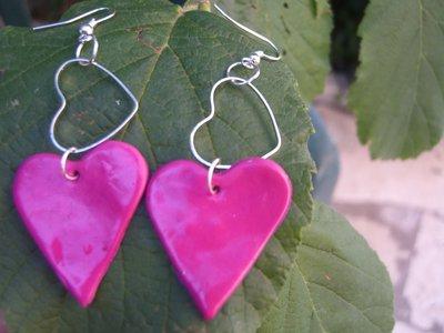 orecchini cuore rosa