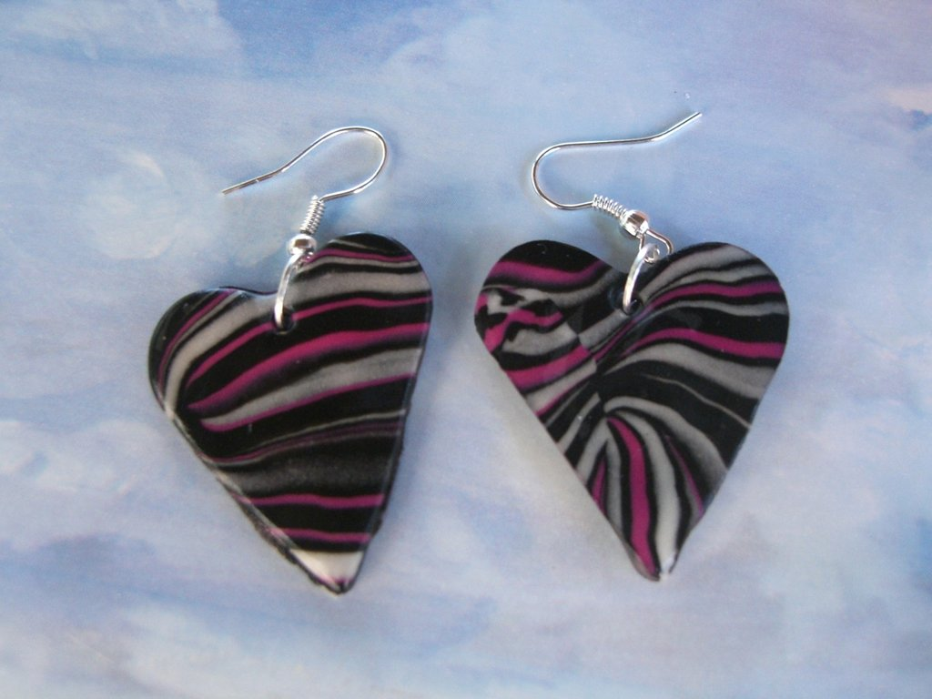 orecchini cuore zebrati