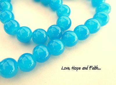 """LOTTO 10 perle in vetro color """"profondo turchese"""""""" (8 mm) (cod.26173)"""