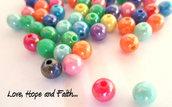 LOTTO 10 perle in acrilico in varie tonalità (6 mm) (cod.22533)